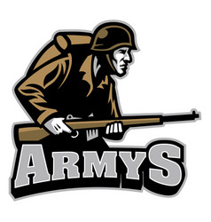 Soldier carrying the rifle mascot vector