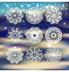 christmas snowflake with a shadow decoration set vector image vector image