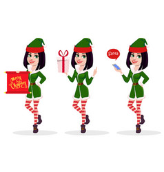 elf woman set of three poses vector image