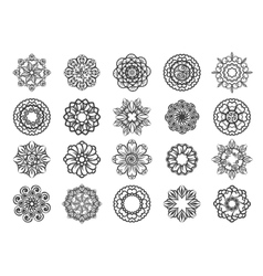 Ornamental floral circular mehndi set vector image vector image