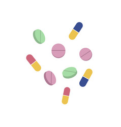 pills and capsules flat set isolated vector image