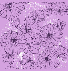 seamless pattern dark flowers in one paint on a vector image