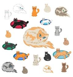 Set Of 20 Cartoon Cats vector image