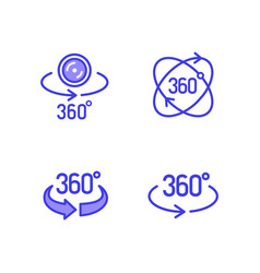 360 degrees view icon set vector