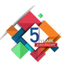 5 years anniversary design colorful square style vector