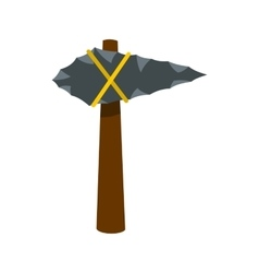Ancient stone axe icon flat style vector image