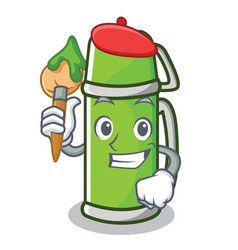 artist thermos character cartoon style vector image