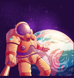 astronaut making selfie in outer space vector image