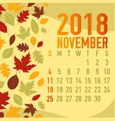 autumn fall calendar months template vector image