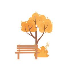 autumn tree bush foliage nature bench park vector image