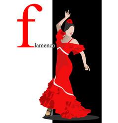Beautiful young woman dancing flamenco poster vector