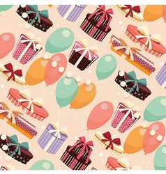 Birthday seamless background presents balloons vector image