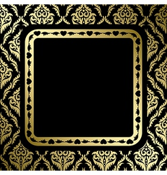 Black background with gold ornament and frame vector