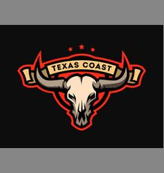 bull skull emblem logo vector image