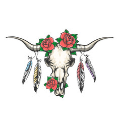 bull skull with feathers and flowers vector image