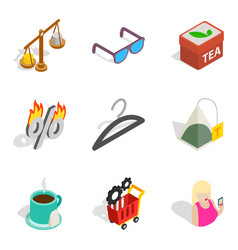 Business dame icons set isometric style vector