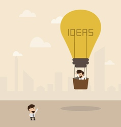 Businessman on lightbulb idea vector