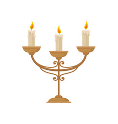 Candelabrum with three burning candles vintage vector