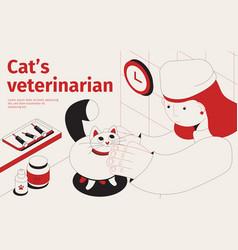 Car veterinarian isometric background vector