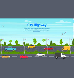 cartoon city panorama highway concept card vector image