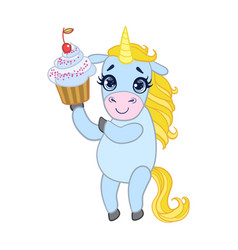 Cartoon light blue lovely unicorn holding cupcake vector