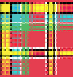 Check fabric texture square pixel seamless pattern vector