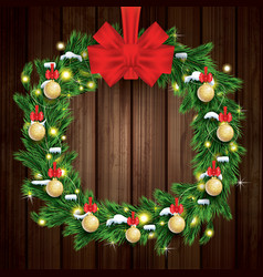christmas wreath with green fir branch light vector image