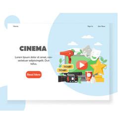 cinema website landing page design template vector image