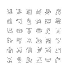 City infrastructure pixel perfect linear icons set vector