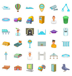 Citywide icons set cartoon style vector