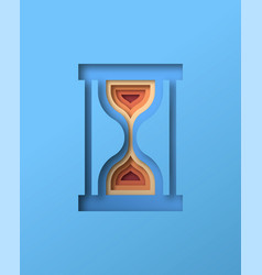 Colorful hourglass sand clock in papercut isolated vector