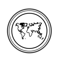 Contour emblem earth planet map icon vector