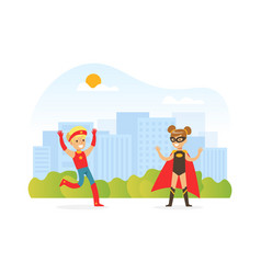 cute kids dressed in superhero costumes playing vector image