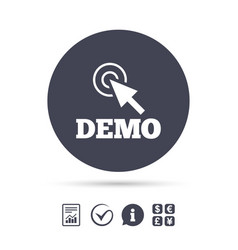 demo with cursor sign icon demonstration symbol vector image