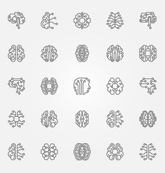 digital brain outline icons set cyberbrain vector image