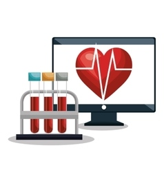 Digital healthcare cardiology and test tube design vector