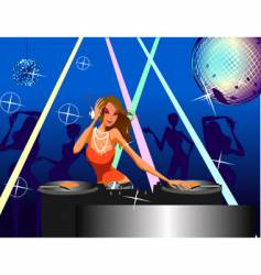 disco girl vector image