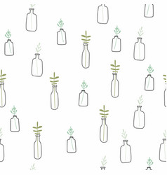 doodle plants in pots seamless pattern background vector image