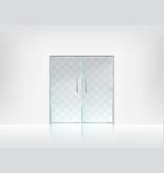 Double glass door transparent template vector