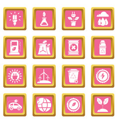 ecology icons set pink square vector image