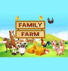 Farm animals on the vector