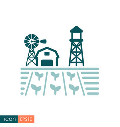 farm landscape with barn seedling and windpump vector image