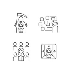 Fears and phobias linear icons set vector