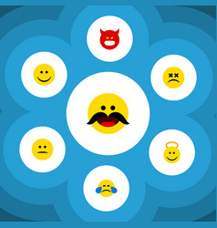 Flat icon emoji set of joy angel cheerful vector