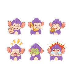 Funny cartoon monkey emotion stickers vector image