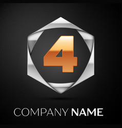 Gold number four logo symbol in silver hexagonal vector