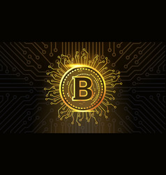 golden bitcoin crypto currency icon over dark vector image