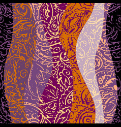 grunge paisley pattern in collage patchwork style vector image