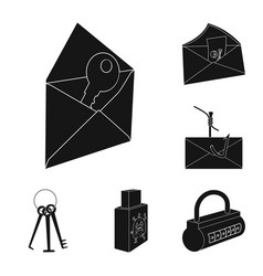 Hacker and hacking black icons in set collection vector