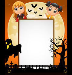 halloween sign with little draculakid and black g vector image
